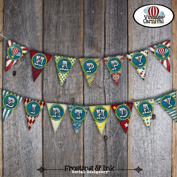 Carnival Party - Circus Party - Bunting Banner - Happy Birthday Banner - Customized Printable - Red Blue Yellow (Vintage Inspired)