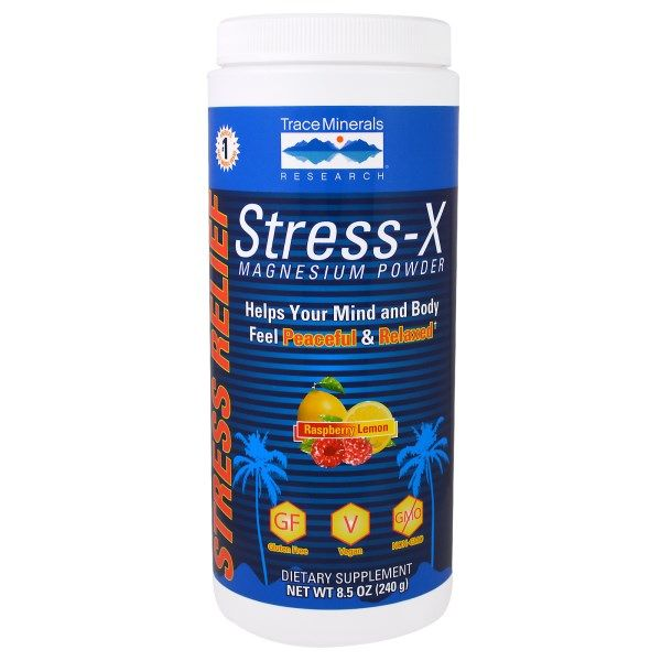 Trace Minerals Research, Stress-X Magnesium Powder, Raspberry Lemon, 8.5 oz (240 g)  #stress #formula #support #balance #management #iherb #thingstobuy #shopping #relief