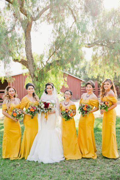 Mustard yellow dresses: http://www.stylemepretty.com/little-black-book-blog/2015/03/18/orange-themed-long-beach-wedding/ | Photography: Onelove - http://www.onelove-photo.com/