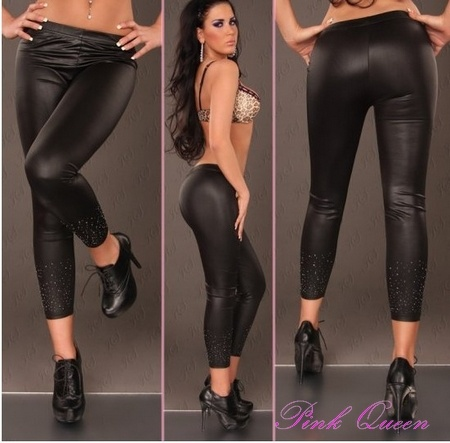 Fix Rhinestone Legging Faux leather Leg Wear Stockings  $17.37