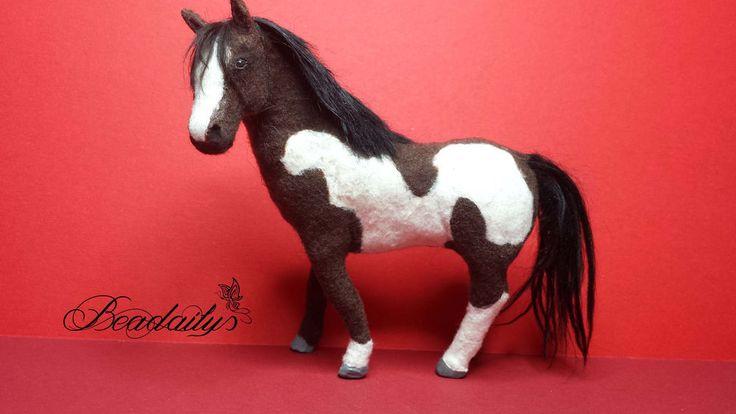 dollhouse miniature paint horse  OOAK handmade realistic furred sculpture