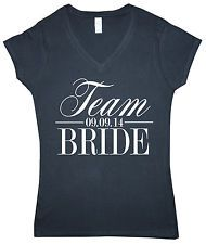 Team Bride Personalised Date V Neck Womens T-Shirt Wedding Hen Do Gift S/M/L/XL