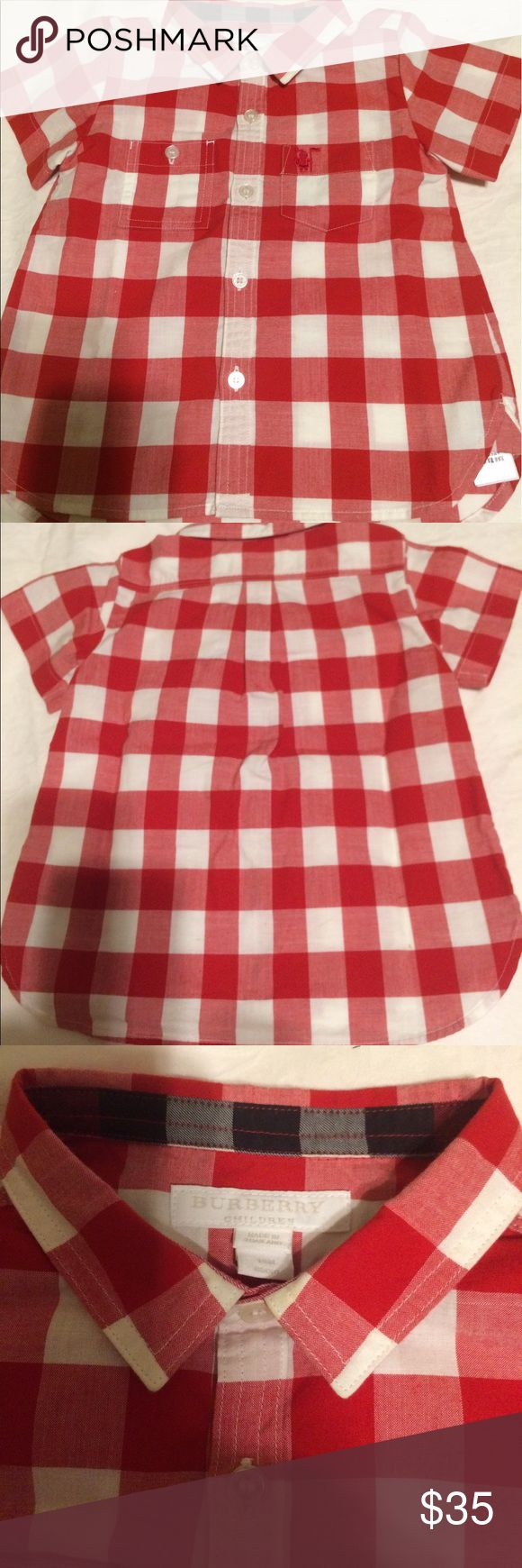 ‼️Lowest Offer‼️Burberry Red Gingham Shirt Burberry Infant short sleeve gingham cotton shirt created in a cooling and lightweight blend of cotton. The design is woven in a gingham check with an oversize scale. It has the embroidered equestrian knight detail on chest. This shirt is in excellent condition and has no stains. Burberry Shirts & Tops Button Down Shirts