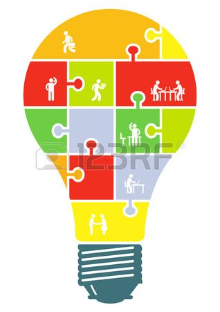 Cooperation and partnership concept in light bulb