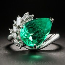 4.48 Carat Pear Shaped Colombian Emerald Platinum and Diamond Ring - What's New
