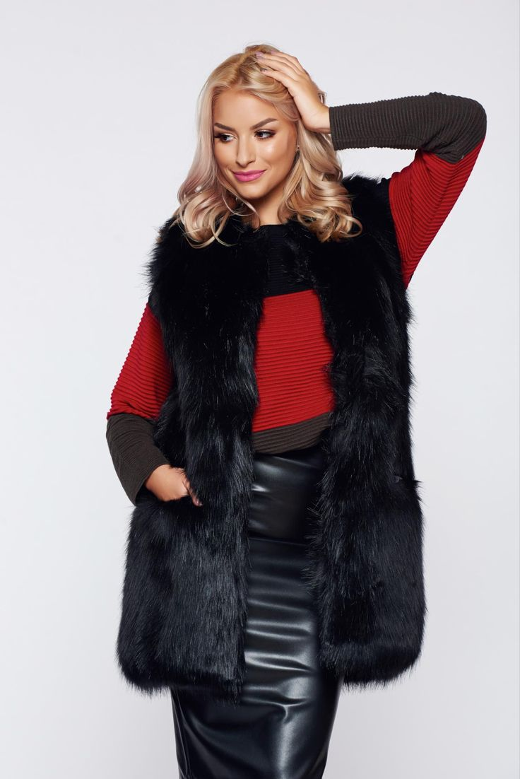 Black casual ecological fur gilet with straight cut, women`s gilet, front pockets, straight cut, sleeveless, inside lining, ecological fur