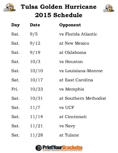 Printable Tulsa Golden Hurricane Football Schedule 2015