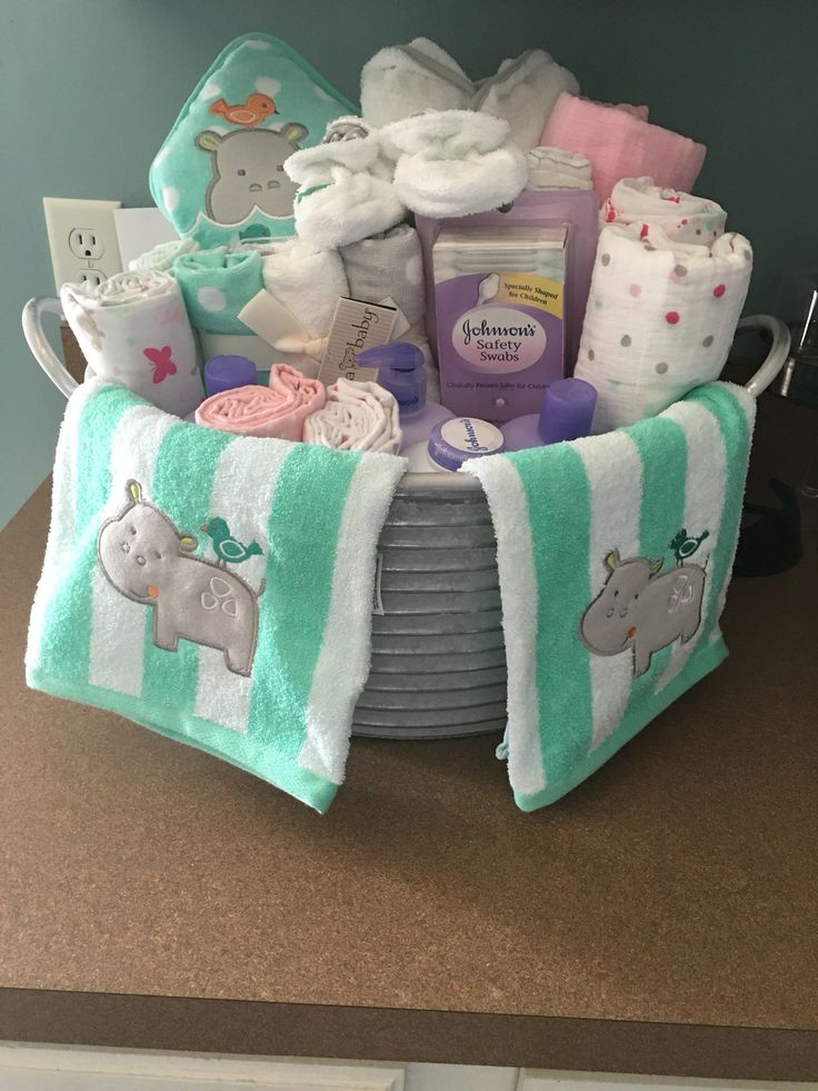 Baby shower present I made. Galvanized bucket with baby bath items.