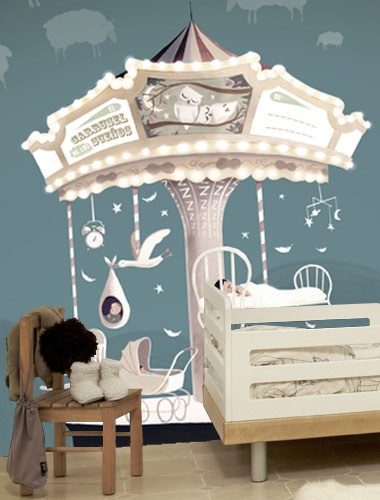 Beautiful merry go round wallpaper mural cute idea could for Carousel wall mural