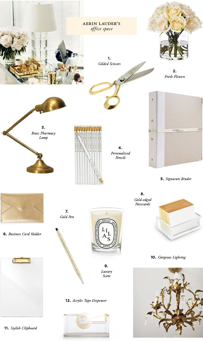 Brass + white = perfect office accents (Aerin Lauder's office space) : daniellamarieblog.blogspot.com