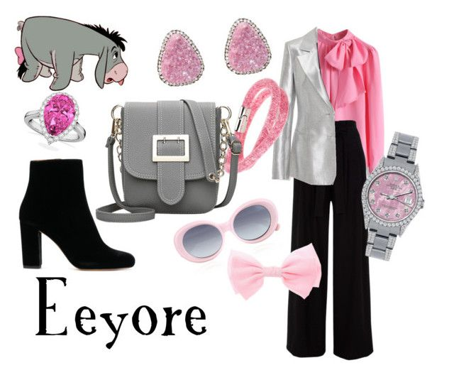 """Eeyore"" by sugarsop on Polyvore featuring Chicwish, Diane Von Furstenberg, Swarovski, Rolex, Henri Bendel, Quay, Allurez, disney, disneybound and winniethepooh"
