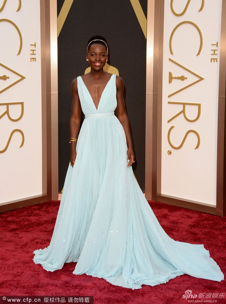 Oscars Deep V-neck A-line Beautiful Evening Dresses Lupita Nyong 'o 86th Academy Awards Red Carpet Celebrity Dresses