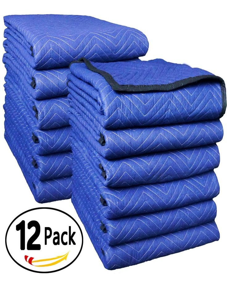 "45-50Lbs Deluxe Pro Moving Blanket, 72"" x 80"",12-PK,Blue/Blue - Southern Wholesales"
