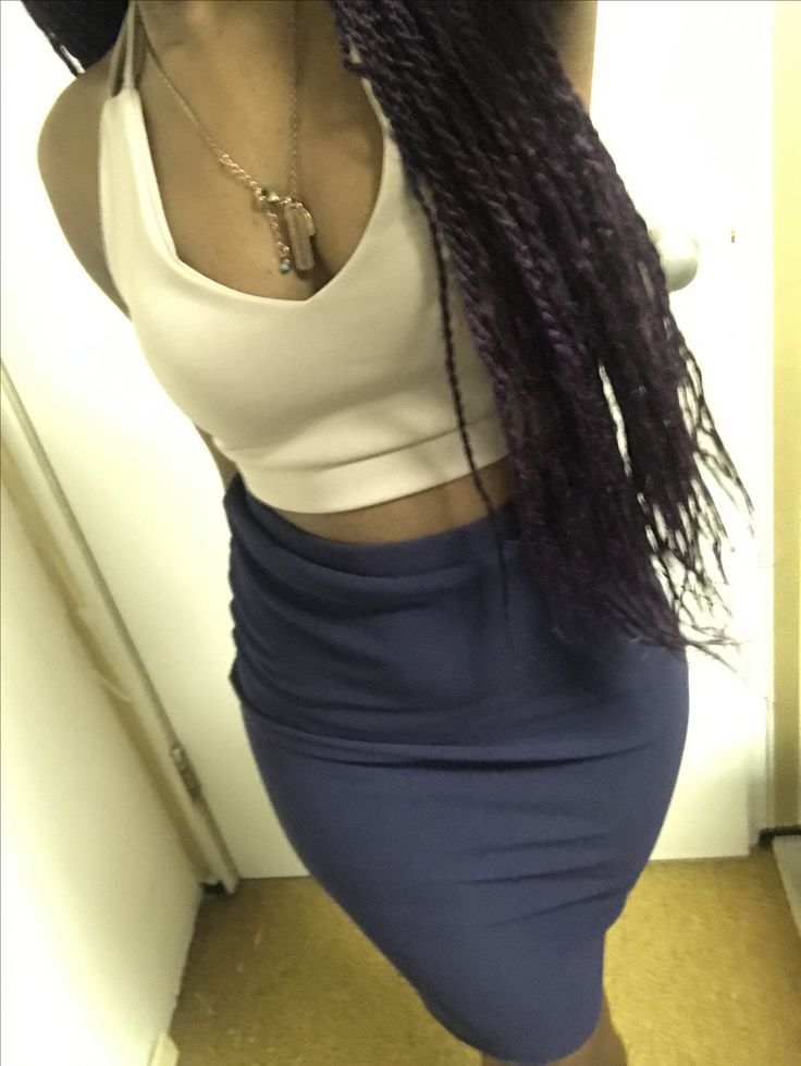 New Years Outfit. Blue tight pencil skirt and cream spaghetti strap crop top.