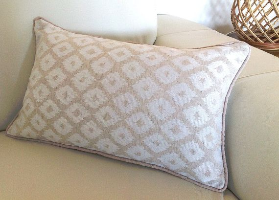 Lumbar Pillow Natural Beige and Ivory Scatter Cushions. Breakfast Pillow, Decorative Cushions, Beach House Natural Linen