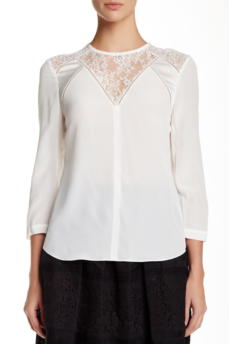 Long Sleeve Silk & Lace Top by Rebecca Taylor on @HauteLook