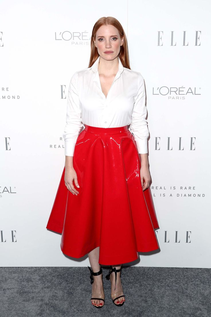 Jessica Chastain in patent leather red skirt – herman been