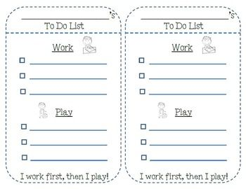 Habit 3- Put First Things First, To-Do List to teach younger students to work first, then play. FREEBIE!