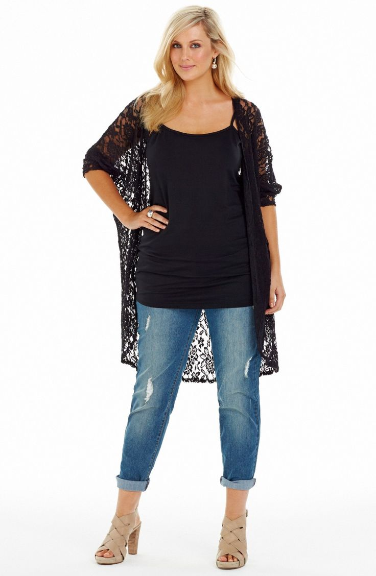 """Long Line Lace """"Throw On"""" Black Style No: JK11118 Stretch lace long Line lace Throw on jacket  This is such a great wardrobe addition. This jacket has 3/4 length dolman sleeves. Perfect Summer throw on. #plussize #dreamdiva #dreamdivafiles"""