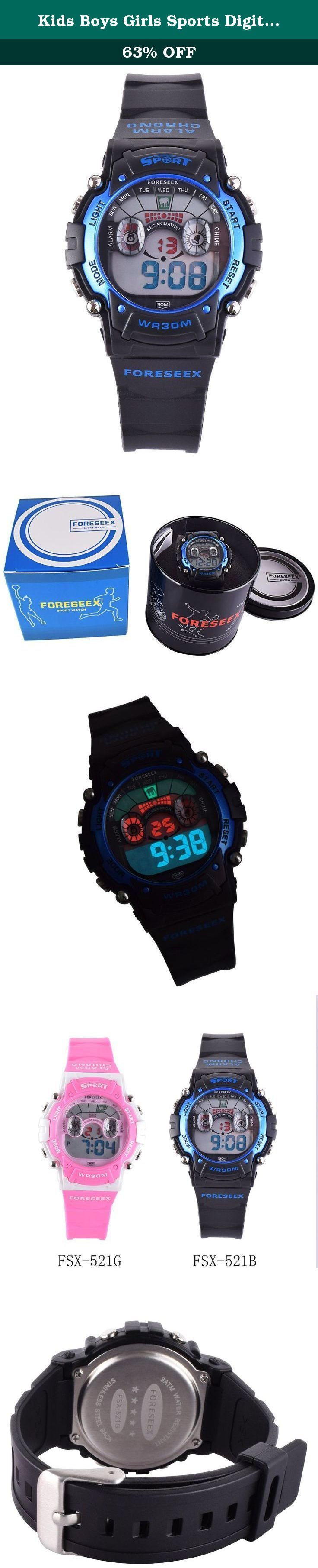 Kids Boys Girls Sports Digital Water Resistant Eyes Watch w/ Back Light Alarm Stopwatch Blue FSX-521B. A better watch for daily use or teaching kids to tell time If you are looking for a watch for daily use or for your kids, you have found the right watch. The watch is durable, digital display, water resistant and has EL back light, long-last battery. It meets all your needs as a daily use watch. You don't need to take off the watch when washing hands, taking shower or swimming (Just…