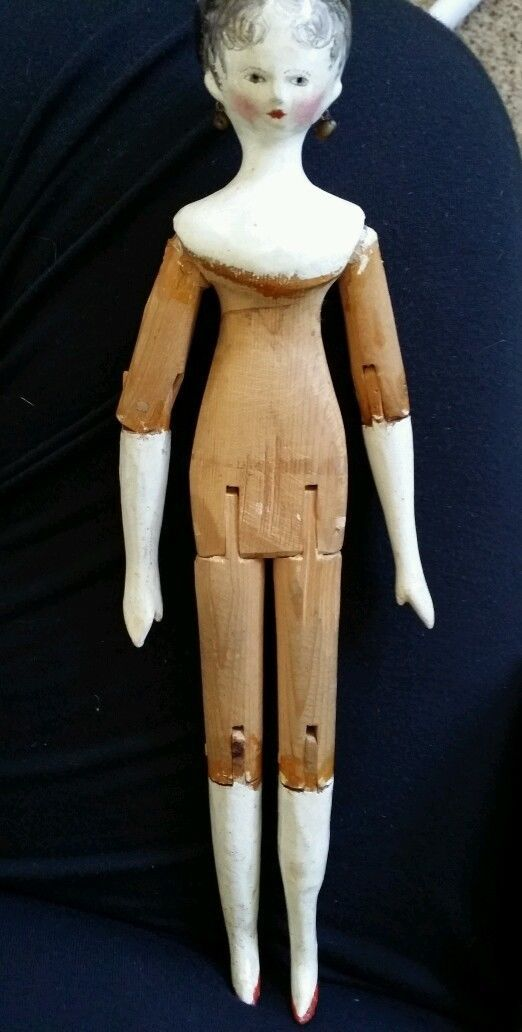 "9 5"" Antique Peg Wooden Doll c1840 Tuck Comb Original Earrings Amazing Doll | eBay"