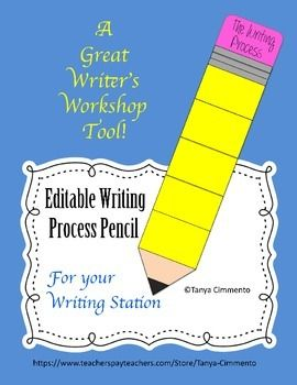 Editable Writing Process Pencil; A Writer's Workshop Manag