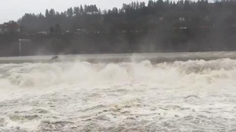 WATCH: Willamette Falls overflowing with water
