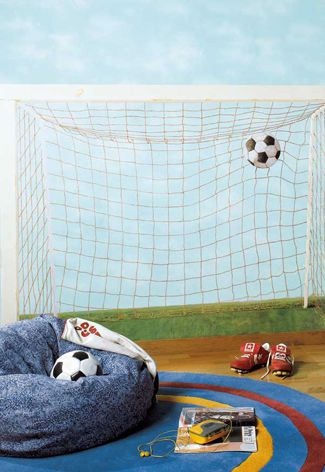 Voetbal behang van Ik en Ik #kinderkamer   Soccer wallpaper #kidsroom