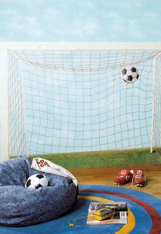 Voetbal behang van Ik en Ik #kinderkamer | Soccer wallpaper #kidsroom