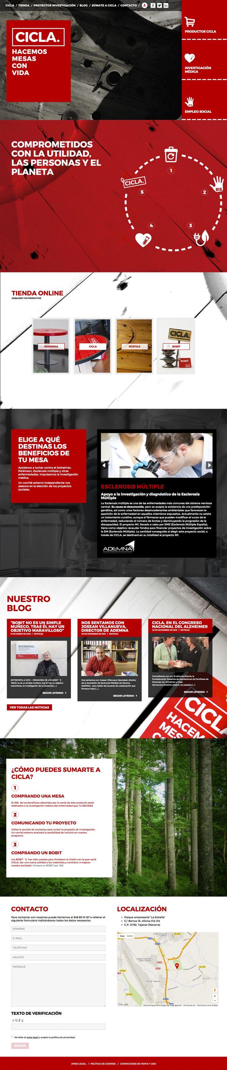Web de CICLA, empresa comprometida con la utilidad, las personas y el planeta. #mesasconvida
