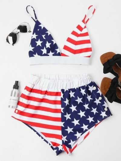 5c7d2c48d82 American Flag Cami Shorts Set   Random Stuff.   Two piece outfit, Black  leather shorts, Two pieces