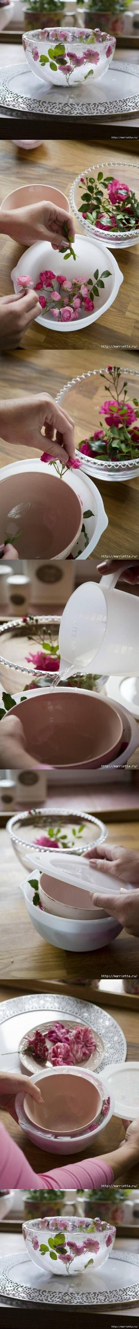 DIY Icy Flower Bowl DIY Projects | UsefulDIY.com Follow us on Facebook ==> https://www.facebook.com/UsefulDiy