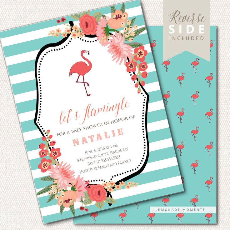 Flamingo Baby Shower Invitation - Baby Shower Invite by LemonadeMoments on Etsy https://www.etsy.com/listing/199540632/flamingo-baby-shower-invitation-baby