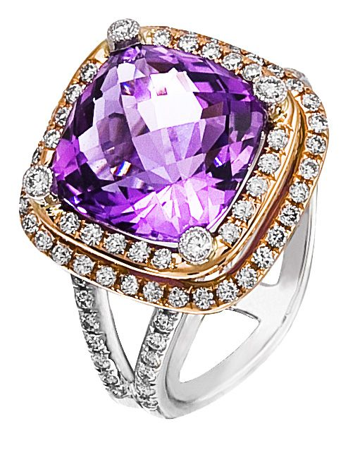 iamond Ring, .62 Carat Diamonds 4.72 Carat Amethyst on 14K Rose & White Gold