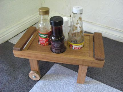 $20 STORAGE Condiment TROLLEY Table Timber Tray 32x16x16cm Text 0411691171 or email info@bitspencer.com