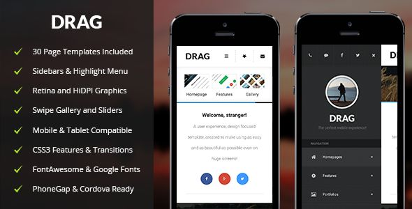 Drag | Mobile & Tablet Responsive Template