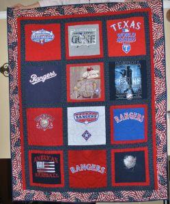 Texas Rangers T-shirt quilt