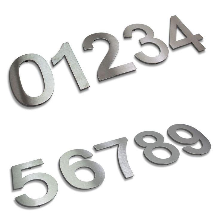 Hausnummer Edelstahl, Hausnummer Beschriftung nach Wunsch, Edelstahl gebürstete Hausnummern