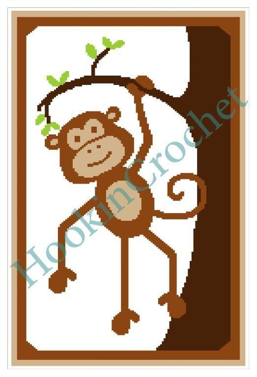 Monkey Cot/Crib Single Crochet Graph Pattern
