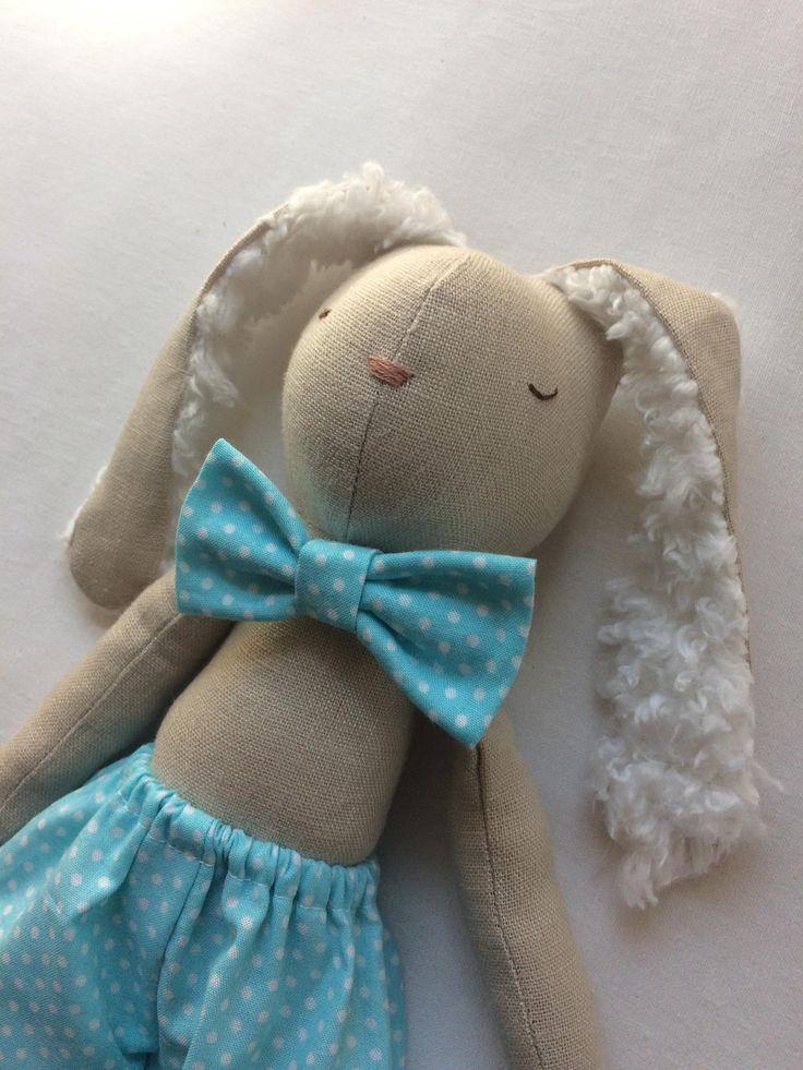 Linen Bunny rag doll, Cotton tail doll, easter doll, Ready to ship rag doll, Fall rag doll, child friendly rag doll, Ooak rag doll by yenistitches on Etsy