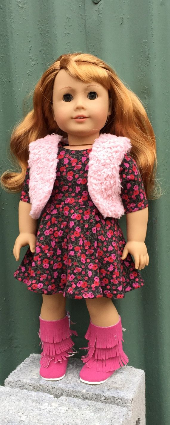 18 inch doll skater dress with faux fur by GumbieCatDollClothes