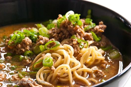 Tan Tan Men.  Best recipe ever!  Tastes just like the one I get at my favorite Japanese restaurant.  I replaced the pork with chicken sausage and left out the sesame paste and oil.  Soooooo good!  And Spicy!
