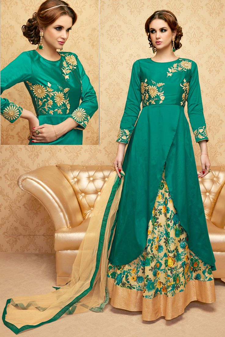 Rama Green Stylish Eid Special Party Wear Suit With Ghaghara  And Embroidary Work 101