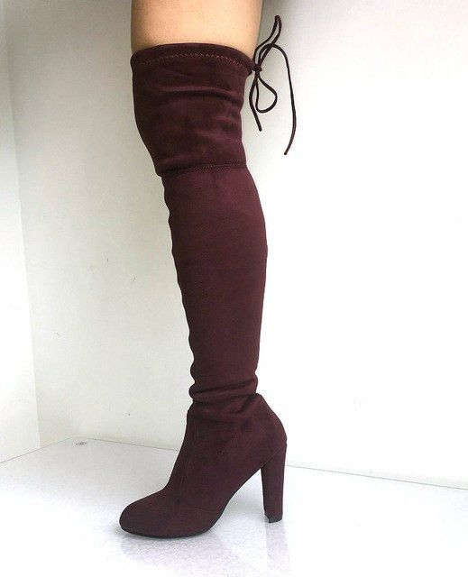 Women Thigh High Boots; Faux Suede Stretch Fashion Over the Knee Boots; Woman High Heels Shoes;