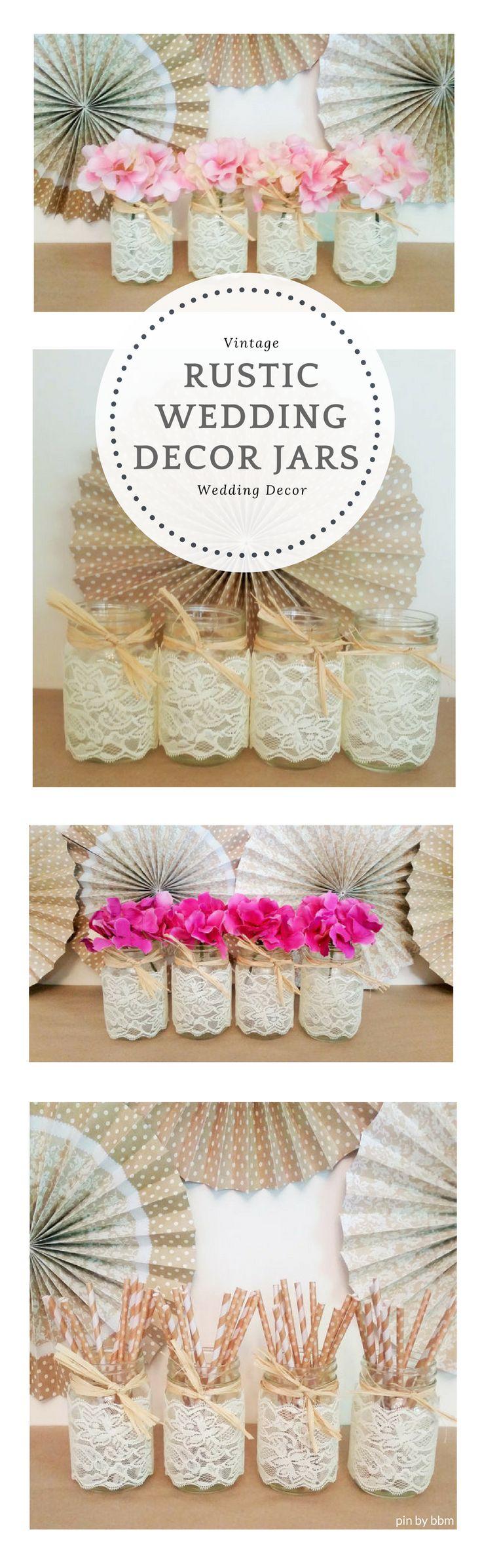 Pretty Rustic Country Wedding Decor Mason Jars, cute wedding table center pieces! found #ad Etsy. #rusticwedding #countrywedding #weddingdecor #bbmaff