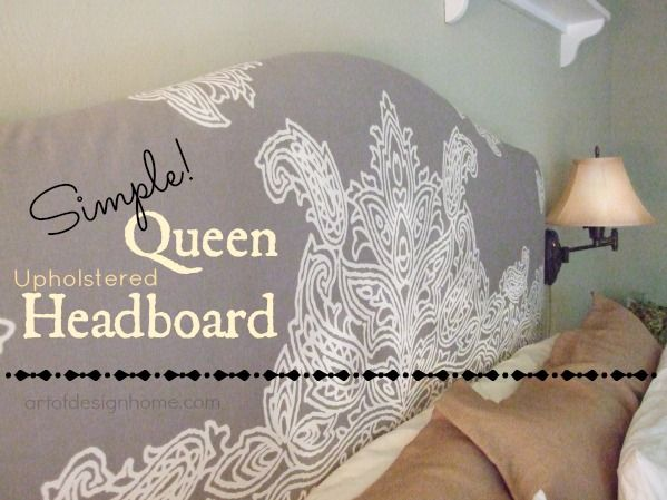 Super simple diy. A shower curtain is the PERFECT size to cover an old queen-size headboard. Who knew?!