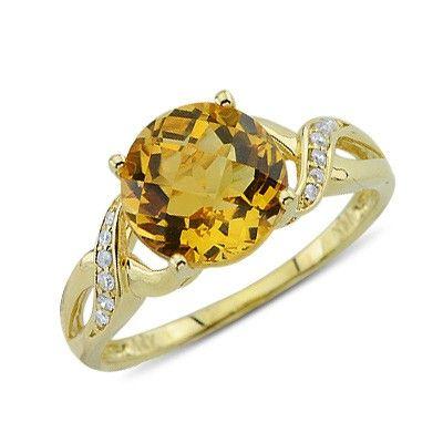 Solitaire Round Cut Citrine Diamond Gemstone Ring In 14K Yellow Gold    $252.00