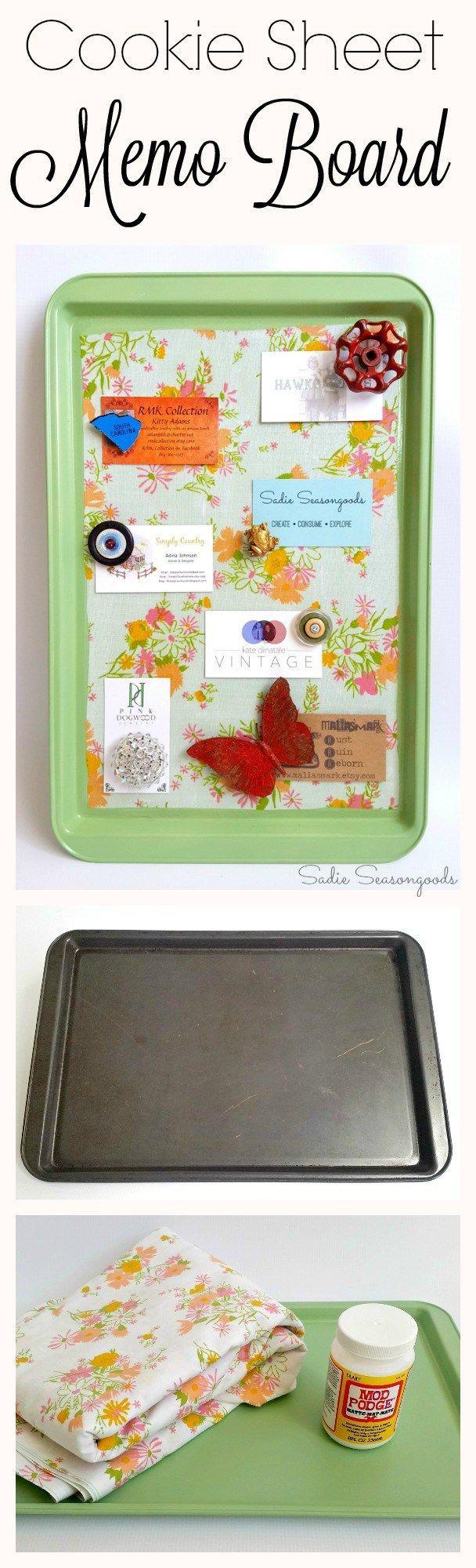 DIY repurposed cookie sheet magnetic memo board with mod podge vintage bed sheet fabric by Sadie Seasongoods / http://www.sadieseasongoods.com   #InspirationSpotlight