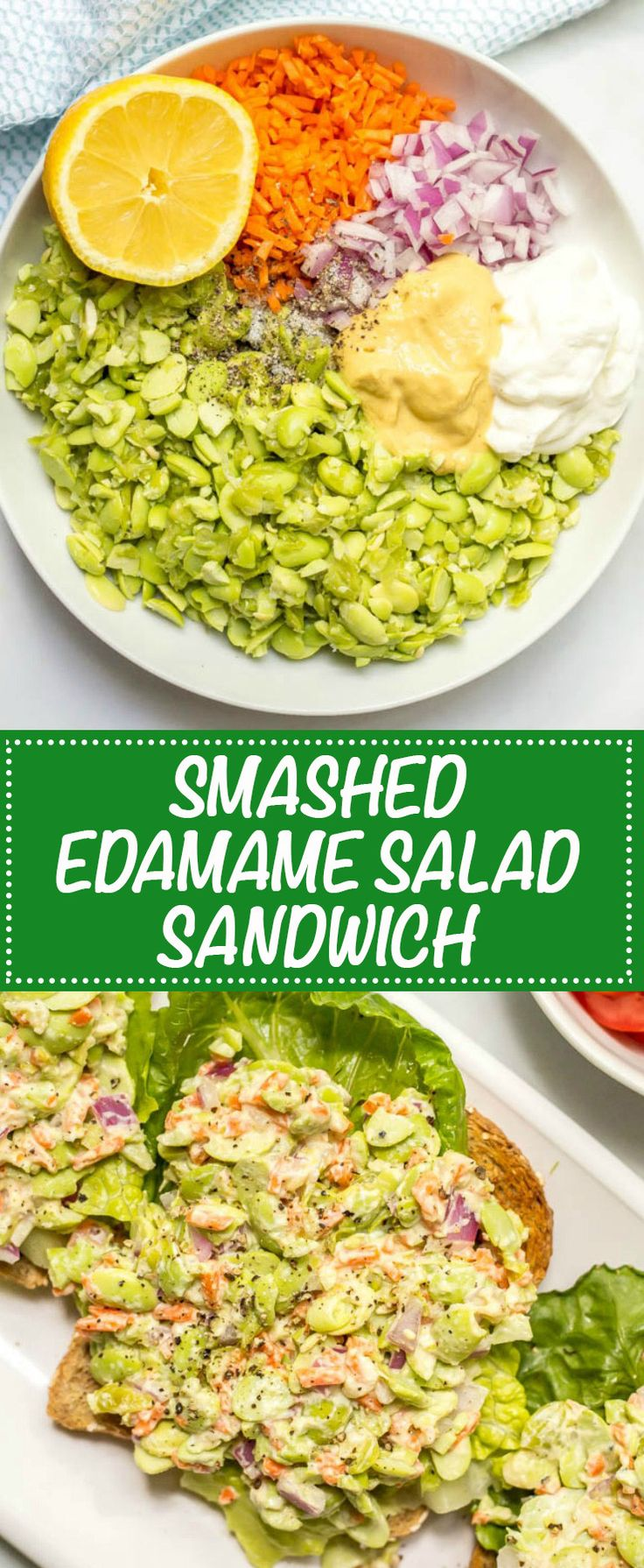 Smashed edamame salad is like the chickpea version but even lighter - perfect on its own or in a sandwich or wrap for a healthy lunch! | www.familyfoodonthetable.com