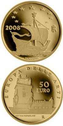 Itália - 50 euro - Torre de Belém - Medalhas portuguesas e estrangeiras referentes a Portugal
